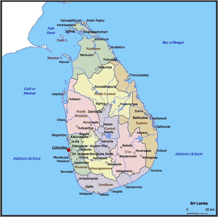 Mappa Sri Lanka Map